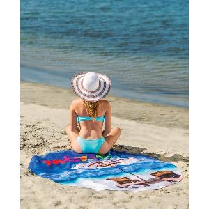 Round Subli-Plush Beach Towel